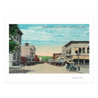 Cartão Postal Vista ocidental da avenida de Sherman