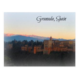 Cartão Postal Vista panorâmica no por do sol de Alhambra e de