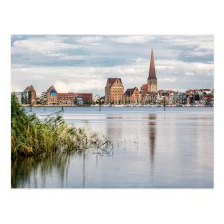Cartão Postal Vista sobre o rio Warnow a Rostock