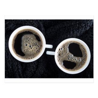 Cartão Postal Vista superior de duas chávenas de café pequenas