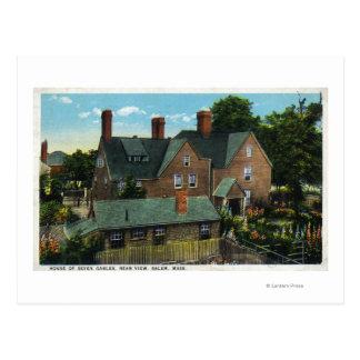Cartão Postal Vista traseira da casa de sete frontões