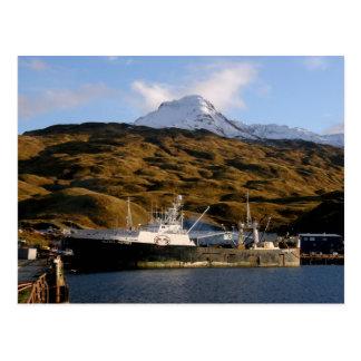 Cartão Postal Vitória de Alaska, traineira no porto holandês,
