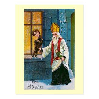 """Cartão Postal """"Vive francês do vintage do St. Nicolas"""""""