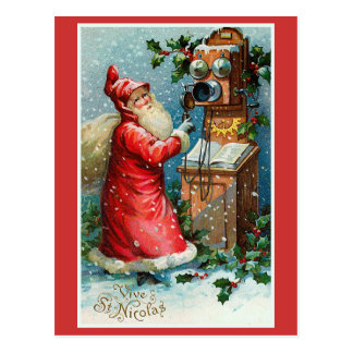"Cartão Postal ""Vive Natal do francês do vintage do St. Nicolas"""