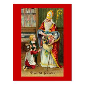 """Cartão Postal """"Vive vintage francês do St. Nicolas"""""""