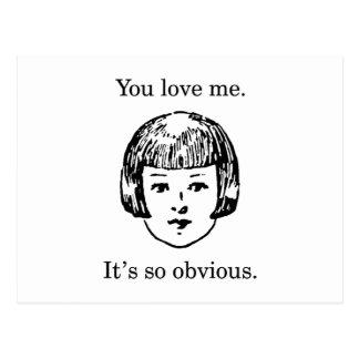 Cartão Postal Você ama-me. É tão óbvio
