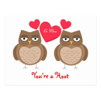 Cartão Postal Você é corujas de buzina
