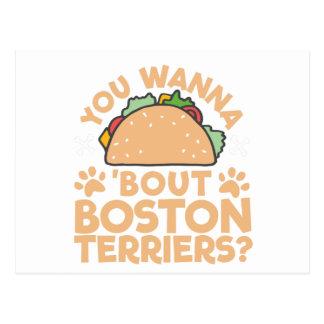 Cartão Postal Você quer aos terrier de Boston do ataque do Taco?
