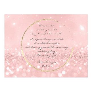 Cartão Postal Você será meu brilho do ouro do pó do rosa da dama