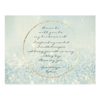 Cartão Postal Você será meu brilho morno azul do ouro da dama de