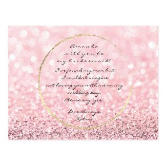 Cartão Postal Você será meu ouro Glitter1 do rosa do rosa da