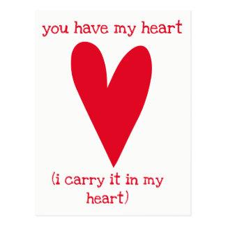 Cartão Postal Você tem meu poema do coração | por E.E. Cummings