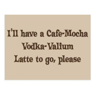 Cartão Postal Vodca-Valium Latte do Café-Mocha