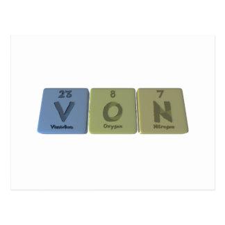Cartão Postal Von como o nitrogênio do oxigênio do vanádio