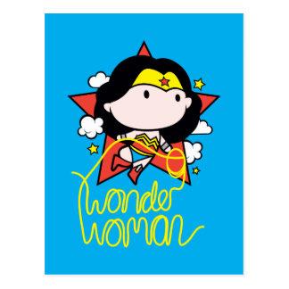 Cartão Postal Vôo da mulher maravilha de Chibi com laço
