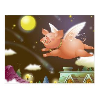 Cartão Postal Vôo do porco no céu