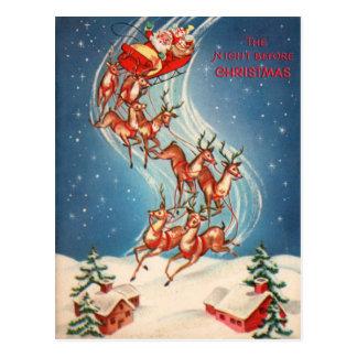 Cartão Postal Vôo do trenó e da rena de Papai Noel do vintage