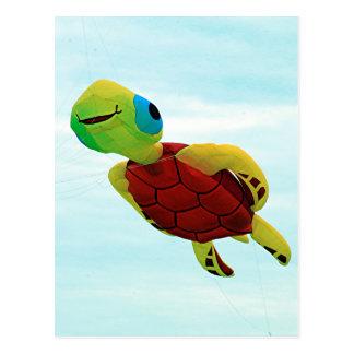 Cartão Postal Vôo feliz do papagaio da tartaruga