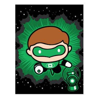 Cartão Postal Vôo verde da lanterna de Chibi através do espaço