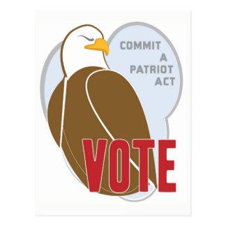 Cartão Postal Votação patriótica de Eagle do americano