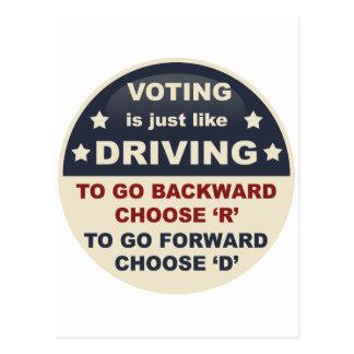 Cartão Postal Votar é apenas como a condução