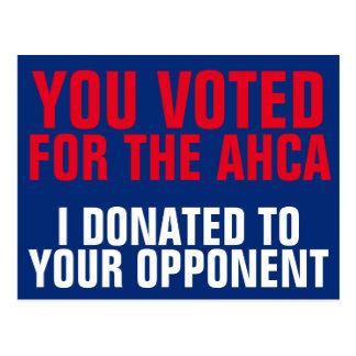 Cartão Postal Votos do congresso para AHCA, nós doamos aos