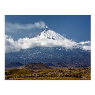 Cartão Postal Vulcão Klyuchevskaya Sopka na península de