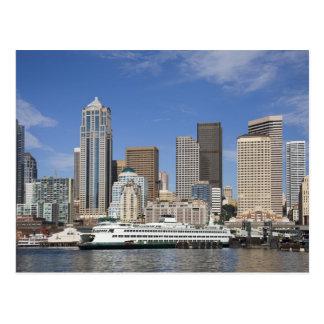 Cartão Postal WA, skyline de Seattle, Seattle com ferryboat