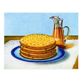 Cartão Postal Waffles retros e xarope do pequeno almoço do