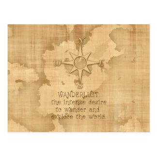 """Cartão Postal """"Wanderlust…"""" Citações de viagem no papel do"""