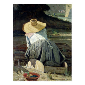 Cartão Postal Washerwoman pelo rio, 1860