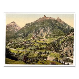 Cartão Postal Wassen, os túneis, estrada de ferro do St.