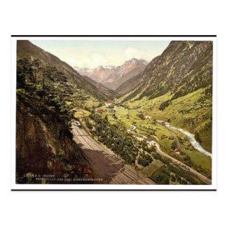 Cartão Postal Wassen, vista das três trilhas, St. Gotthard Rai