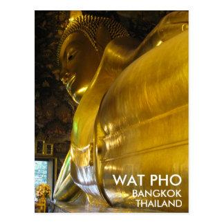 Cartão Postal Wat Pho Buddha dourado de reclinação Banguecoque