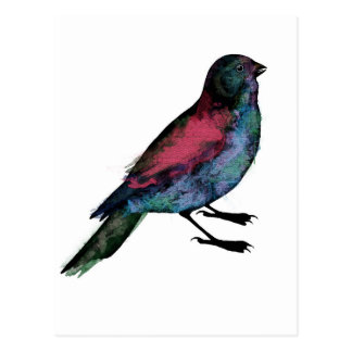 Cartão Postal Watercolour do pássaro