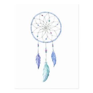 Cartão Postal Watercolour Dreamcatcher com 3 penas