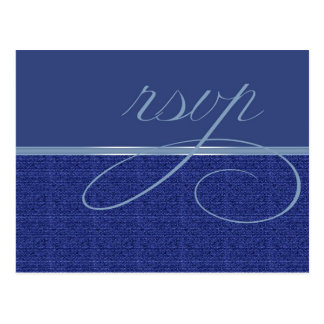 Cartão Postal Weave moderno RSVP azul
