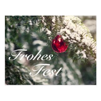Cartão Postal Weihnachtsmotiv com as palavras 'Fest' Alegres