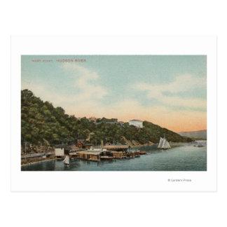 Cartão Postal West Point, NY - vista do porto no Rio Hudson