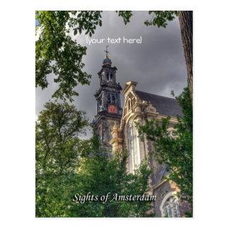 Cartão Postal Westerkerk, igreja de Amsterdão, vistas de