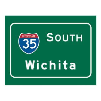 Cartão Postal Wichita, sinal de estrada de KS