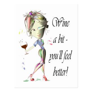 Cartão Postal Wine um bocado - você sentirá melhor! Presentes