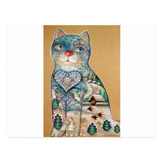 Cartão Postal winter cat