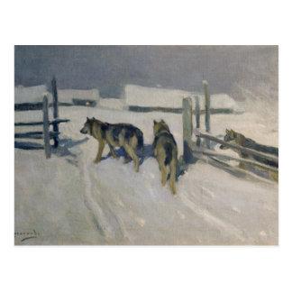 Cartão Postal Wolfs, a noite do inverno, c.1910