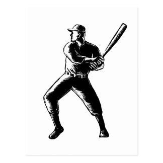 Cartão Postal Woodcut da batedura do jogador de beisebol preto e