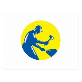 Cartão Postal Woodcut do círculo do ferro do forjamento do