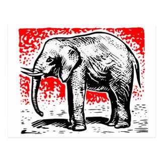 Cartão Postal Woodcut do elefante