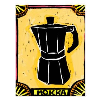 Cartão Postal Woodcut do pote do café de Mokka