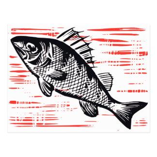Cartão Postal Woodcut dos peixes do vintage