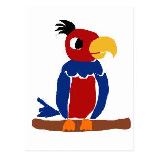 Cartão Postal WX- arte engraçada do primitivo do papagaio